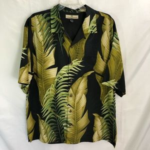 Tommy Bahama Black Palm Fronds Silk Camp shirt L